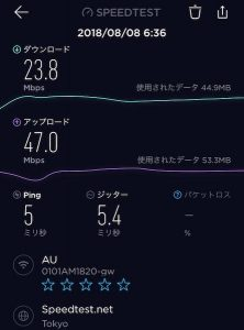 KDDI通信速度(2階)